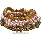 Autumn Leaf Multi-Color Dyed Freshwater Cultured Pearl and Gemstone Chips 5 Piece Stretch Bracelet Set, 7.5""