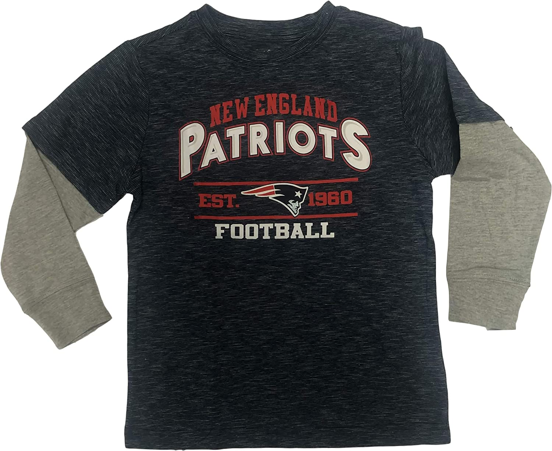 Navy New England Patriots Established 1960 Boys Youth Long Sleeve Tee Shirt
