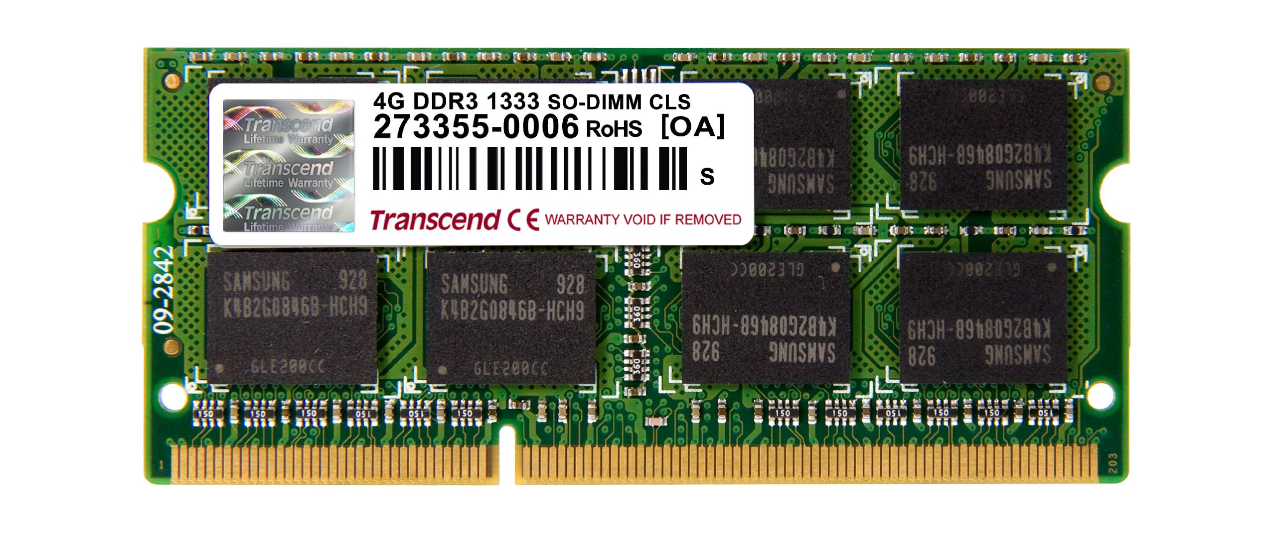Transcend DDR3 1333MHz Notebook SO DIMM Memory Module - 4GB