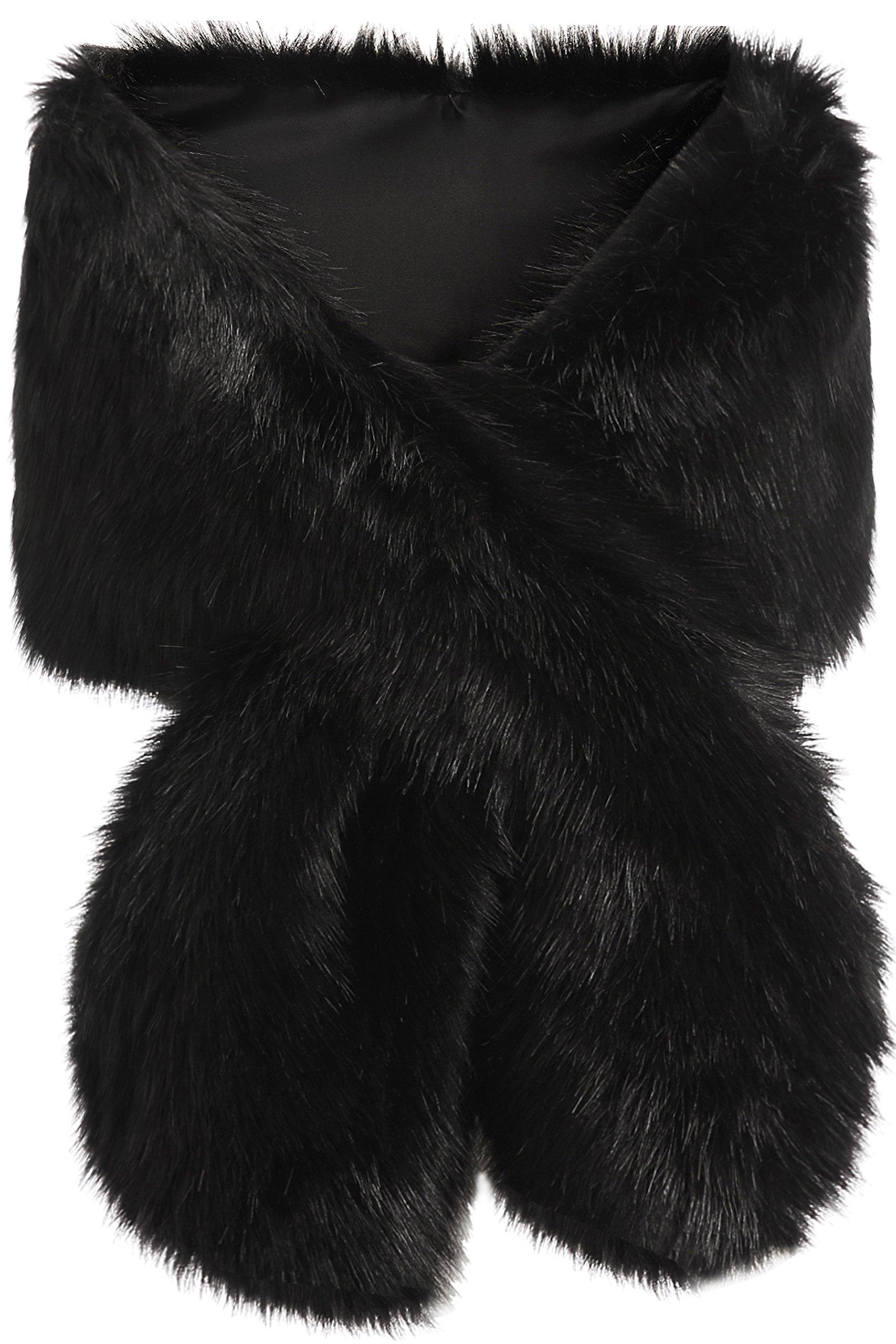 BABEYOND Womens Faux Fur Collar Shawl Faux Fur Scarf Wrap Evening Cape for Winter Coat 47.2'' (Large-Black)