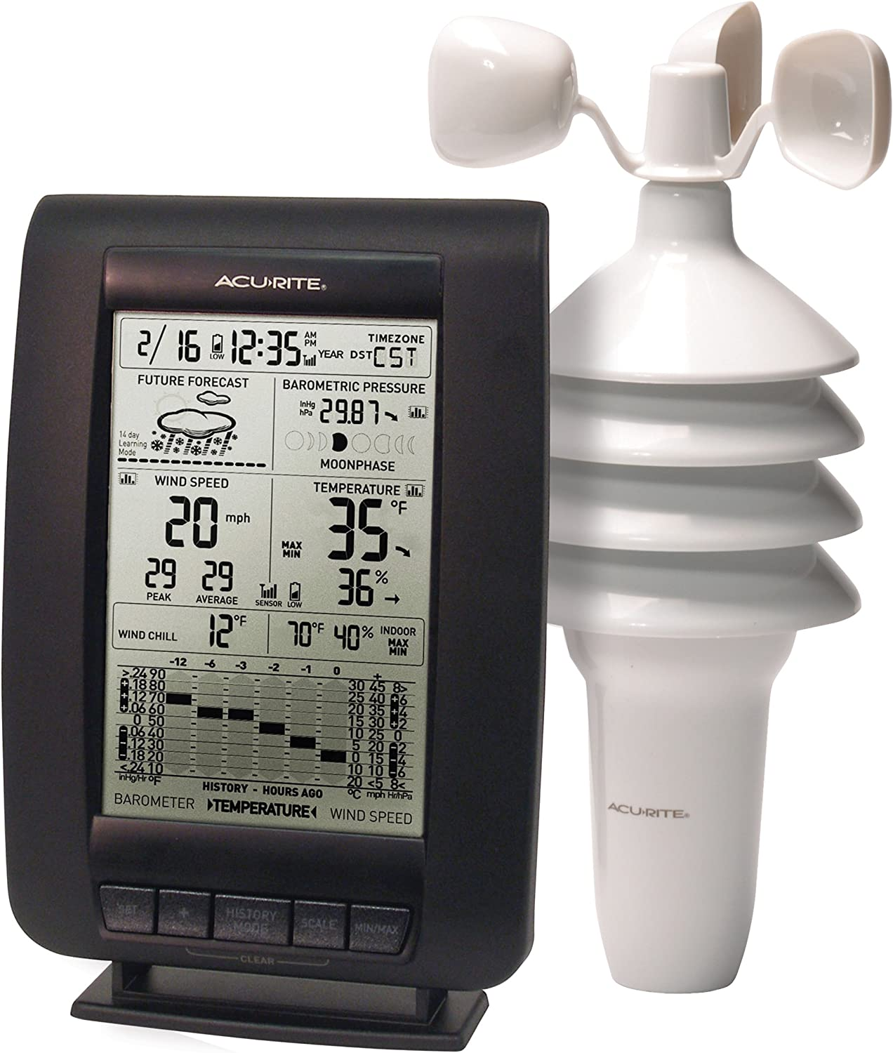 Amazon Com Acurite 00634a3 Wireless Weather Station With Wind Sensor Black Home Kitchen