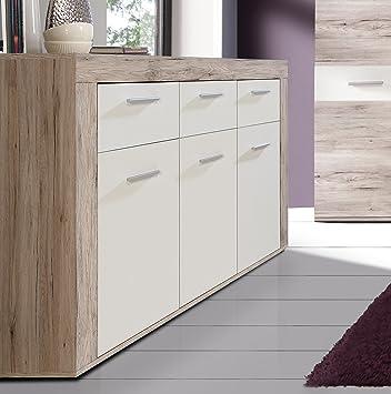 Mueble aparador de Comedor Trama de 135 cm. Color Roble y Blanco ...