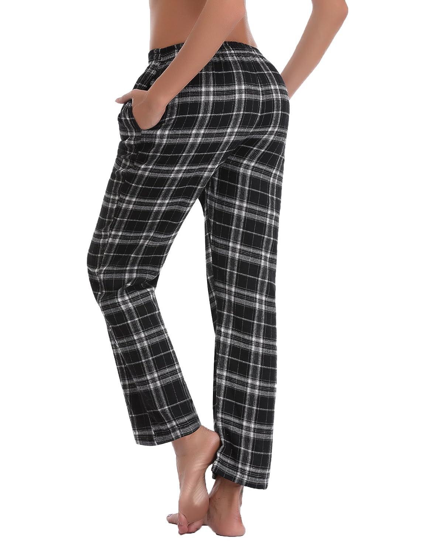 Ropa Pantalones Aibrou Pantalones De Pijama Mujer De Cuadros De Forro Polar De 100 Algodon