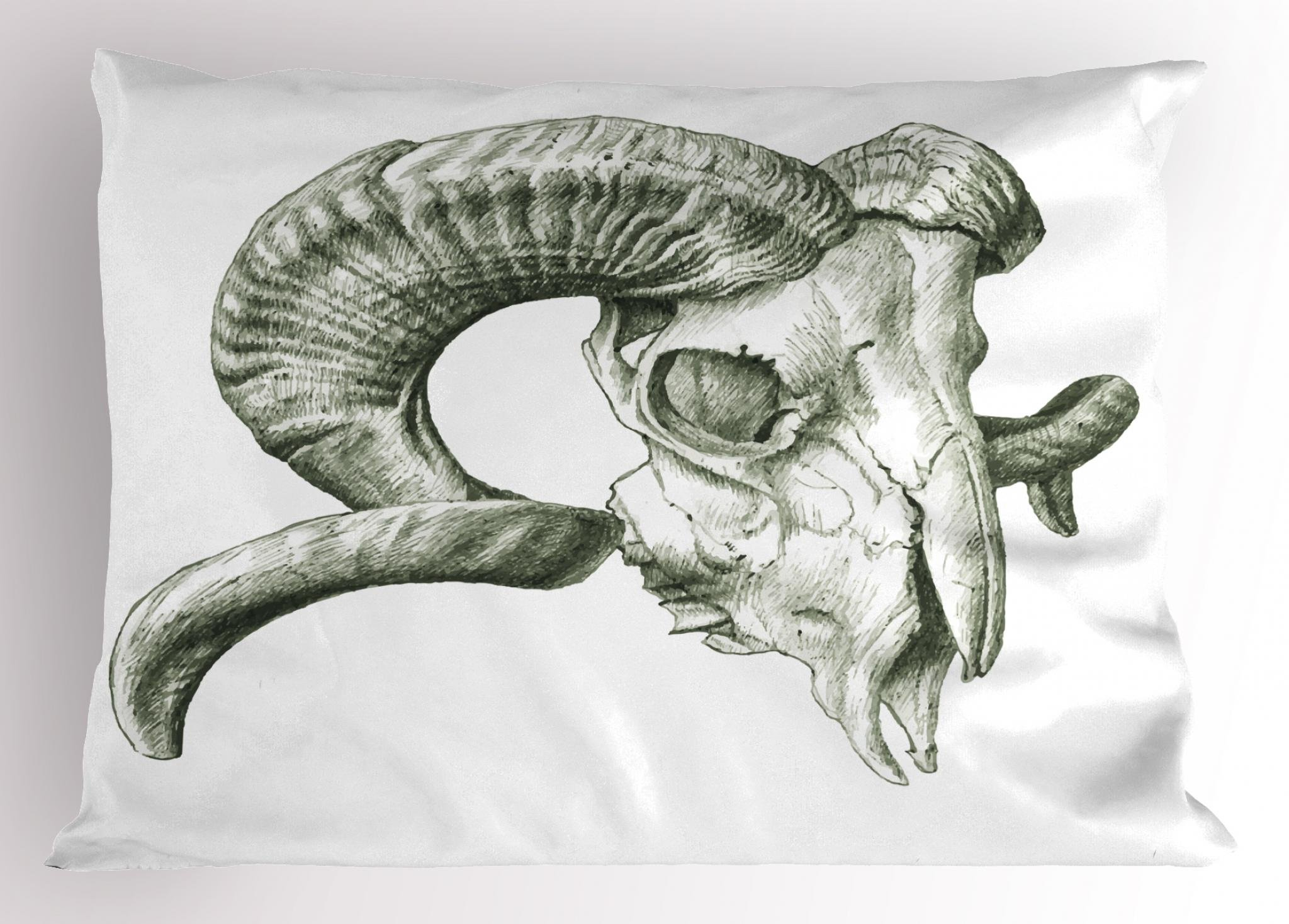 Lunarable Skull Pillow Sham, Scary Goat Animal Skull Illustration in Dark Colors Dead Horns Wild Nature, Decorative Standard Size Printed Pillowcase, 26 X 20 inches, Pale Sage Green White