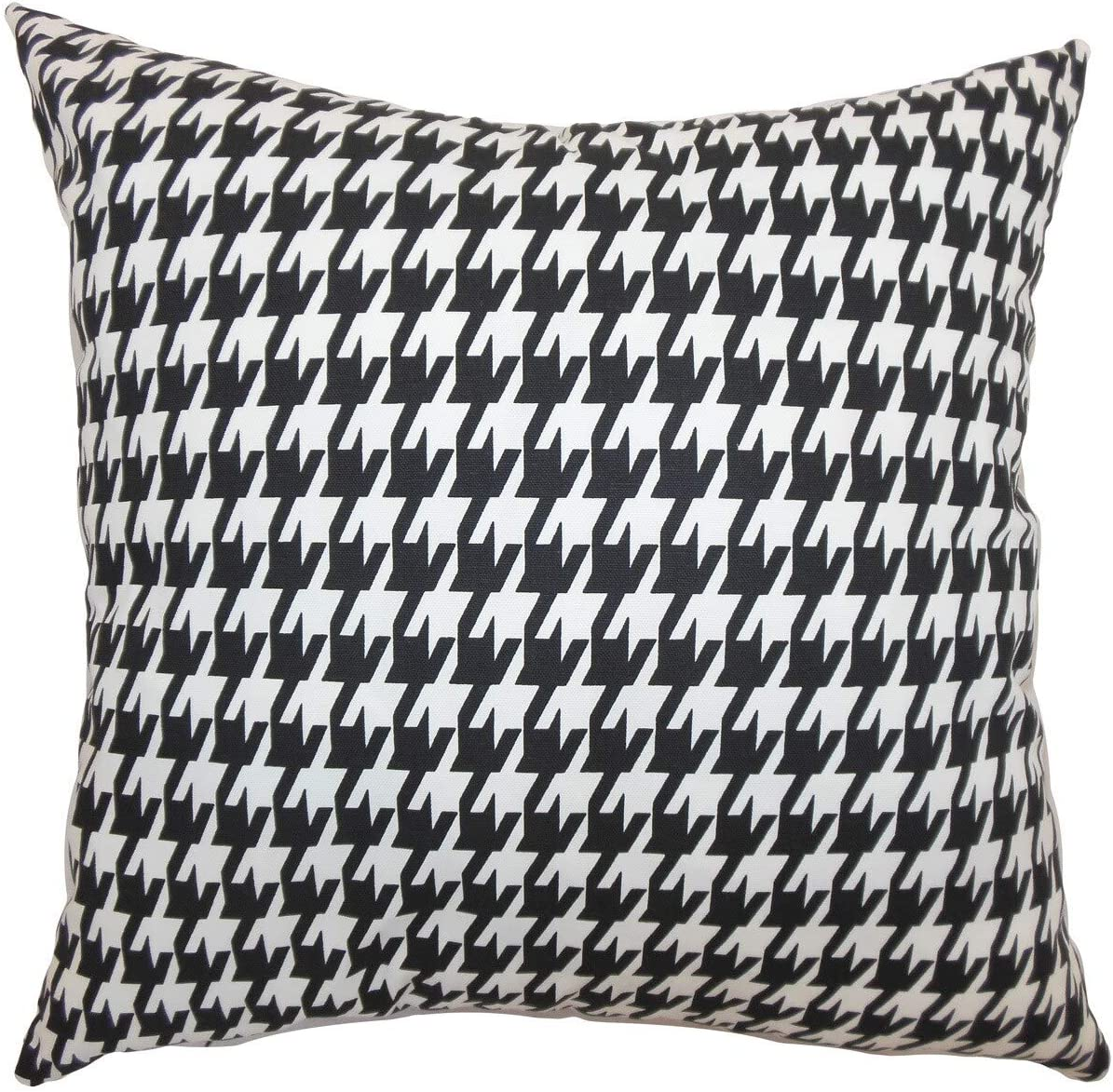 Amazon Com The Pillow Collection Ceres Houndstooth 24 Inch Down Feather Throw Pillow Black White Home Kitchen