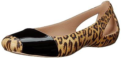 719917c504 Crocs Women's Sienna Leopard Shiny Ballet Flat, Leopard/Black, 2 UK ...