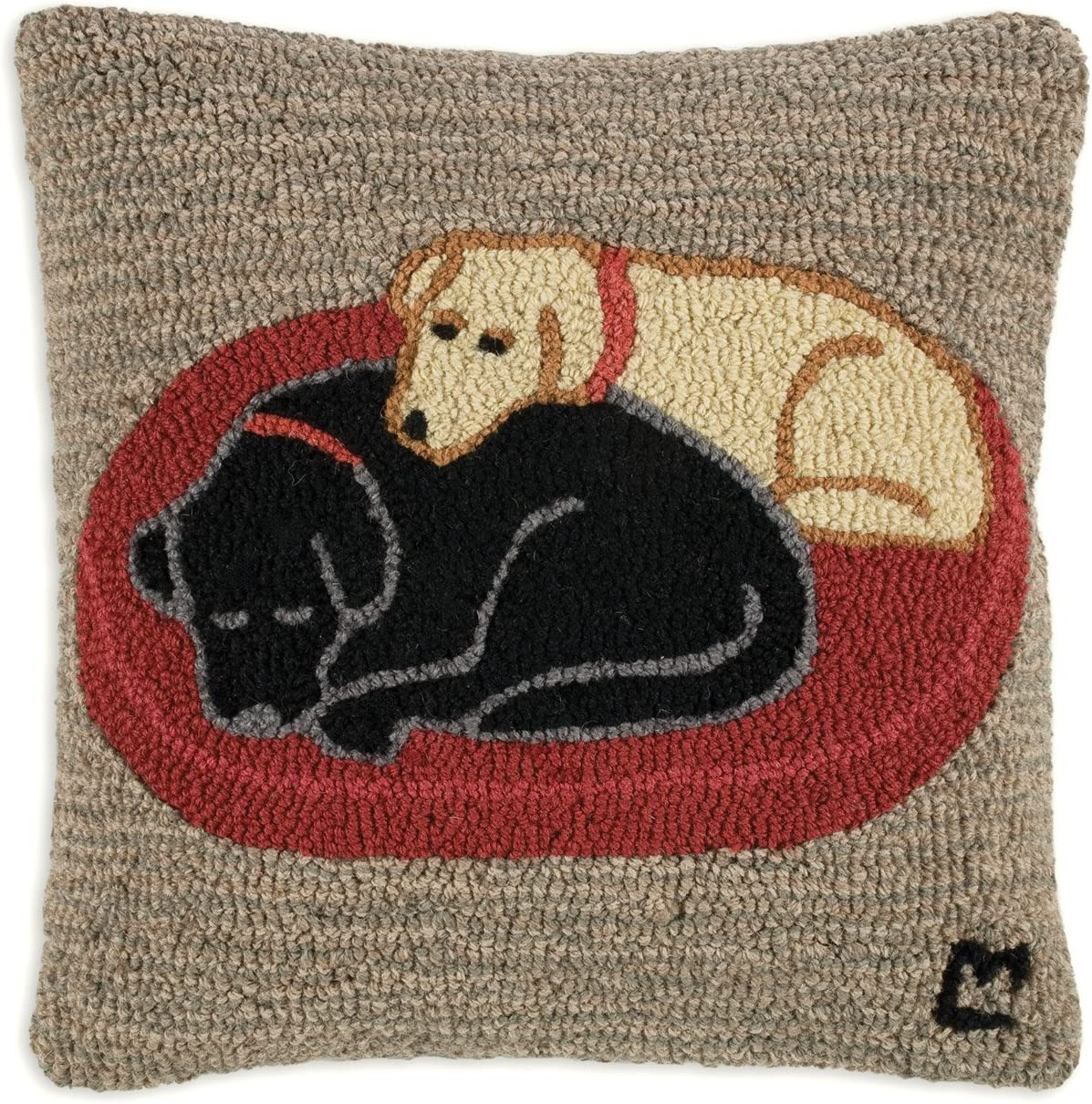 Chandler 4 Corners Artist-Designed Two Sleeping Labs Hand-Hooked Wool Decorative Throw Pillow 18 x 18