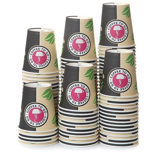 100 Gobelets Carton pour Café à Emporter - Gobelets Jetables - Tasse Café 240ml pour Servir le Café, le Thé, des Boissons Chaudes et Froides