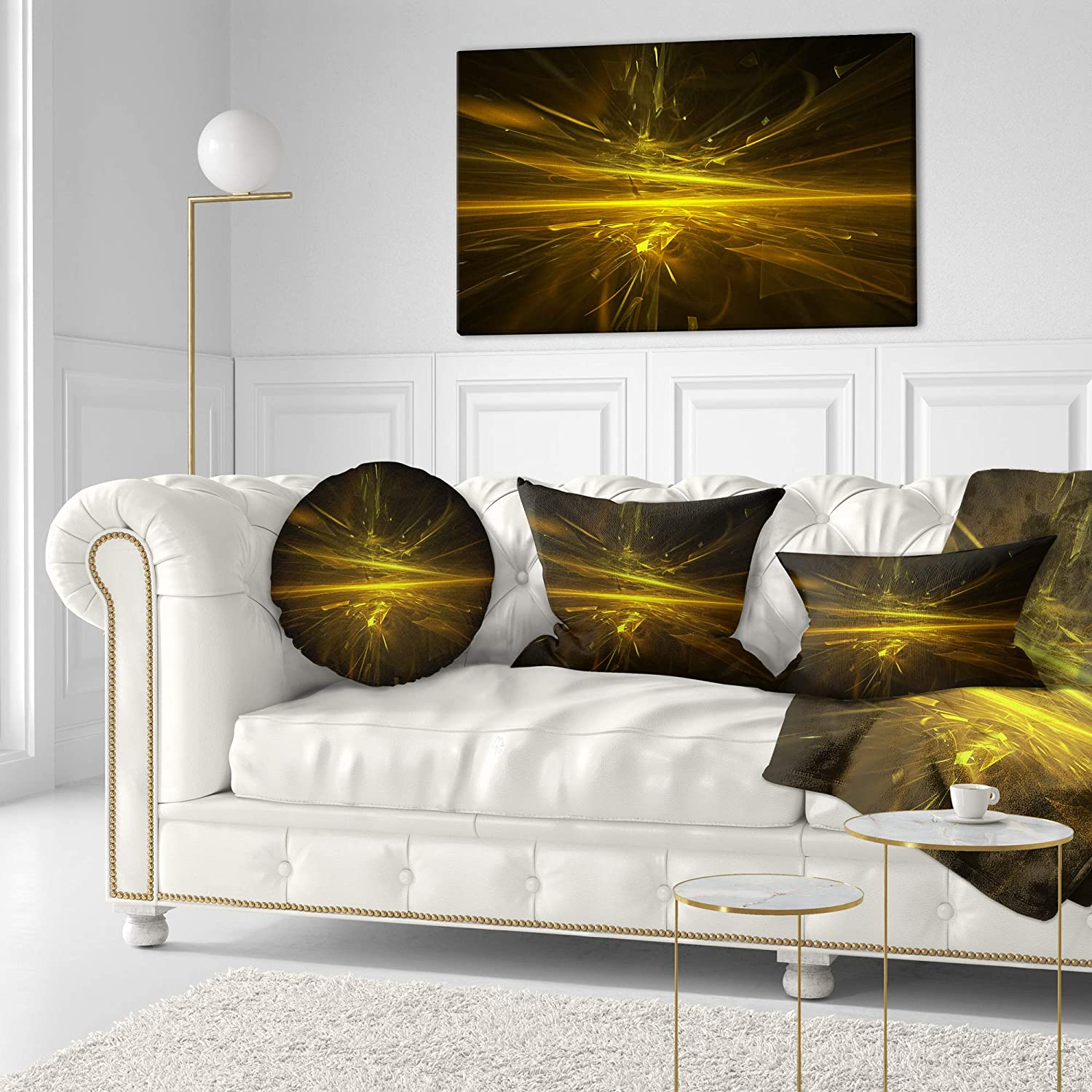 Sofa Throw Pillow 20 Designart CU13041-20-20-C Bright Golden Chaos Fractal Design Contemporary Abstract Round Cushion Cover for Living Room