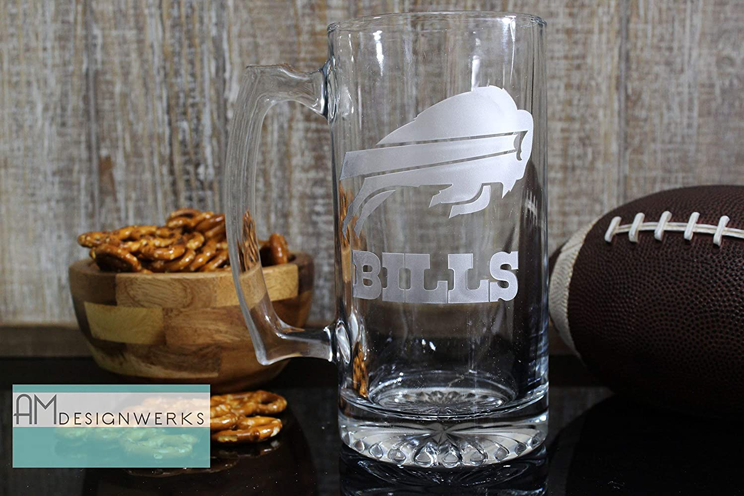 Buffalo Bills Jumbo 28.5oz Hand Etched Glass Beer Mug