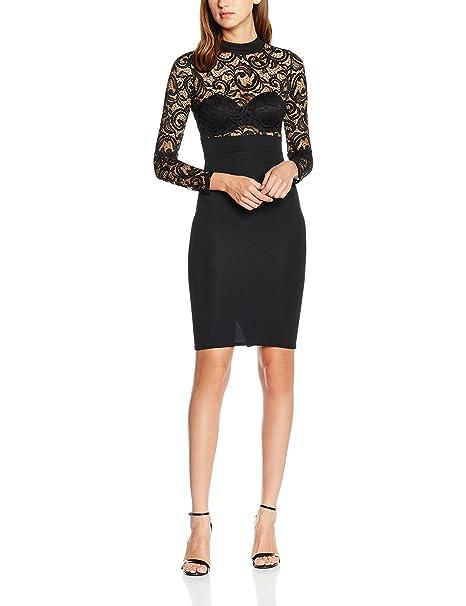 Quiz Lace Long Sleeve Midi, Vestido para Mujer, Negro, ES 36 (UK