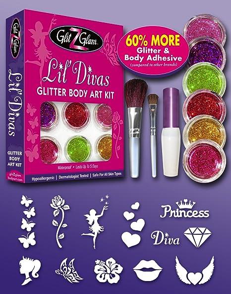 Amazon.com: LIL DIVAS Glitter Tattoo Kit with 6 Large Glitters & 12 ...