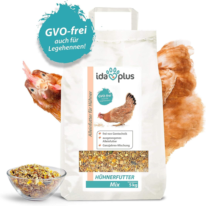 Ida Plus – Alimento para gallinas Mix 5 kg – Comedero equilibrado – Mezcla para todo el año – Libre de OMG también para gallinas ponedoras – Ideal para máquinas de pienso – Contiene calcio y vitaminas