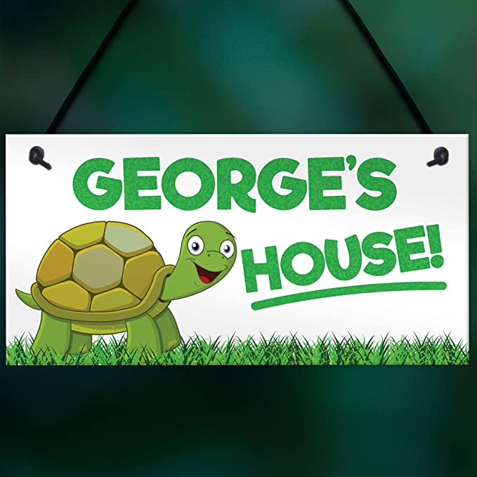 Tortoise Enclosure Name Plaque Home Gift Pets Personalised Turtle House Sign