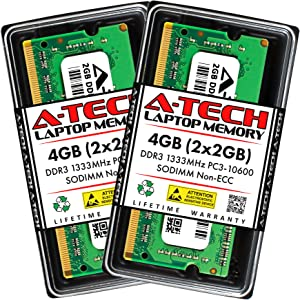 A-Tech 4GB (2x2GB) DDR3 1333MHz SODIMM PC3-10600 204-Pin CL9 Non-ECC Unbuffered Notebook Laptop RAM Memory Upgrade Kit