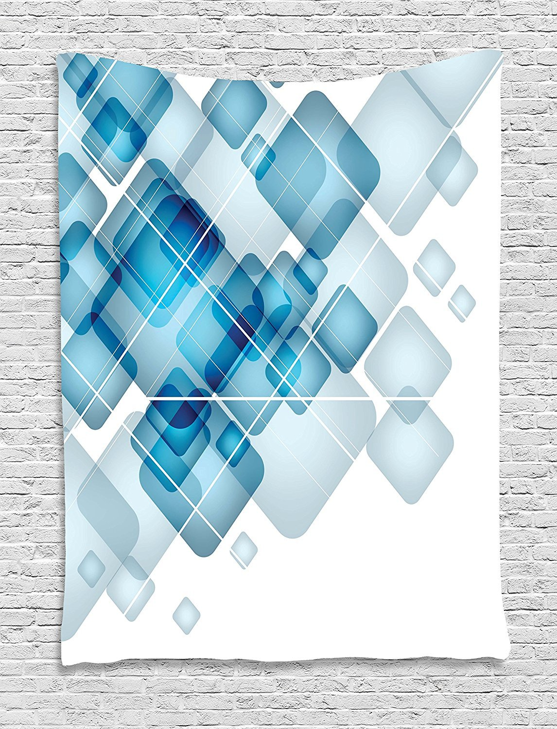 Abstract Tapestry, Blue Colored Squares with Round Edges and Lines Modern Digital Technology Theme, Wall Hanging for Bedroom Living Room Dorm, 60 W X 80 L Inches, Blue White