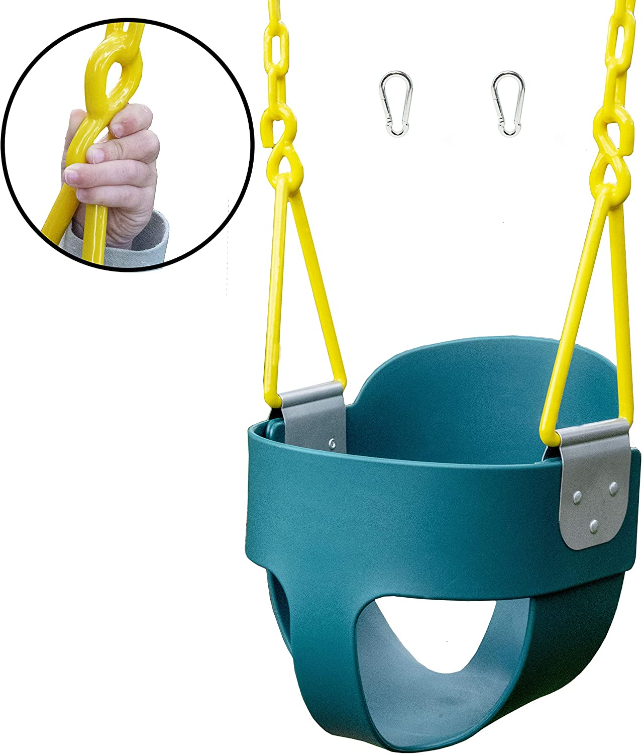 Squirrel Products High Back Full Bucket Toddler Swing with Exclusive Chain & Triangle Dip Pinch Protection and Carabiners for Easy Install- Green
