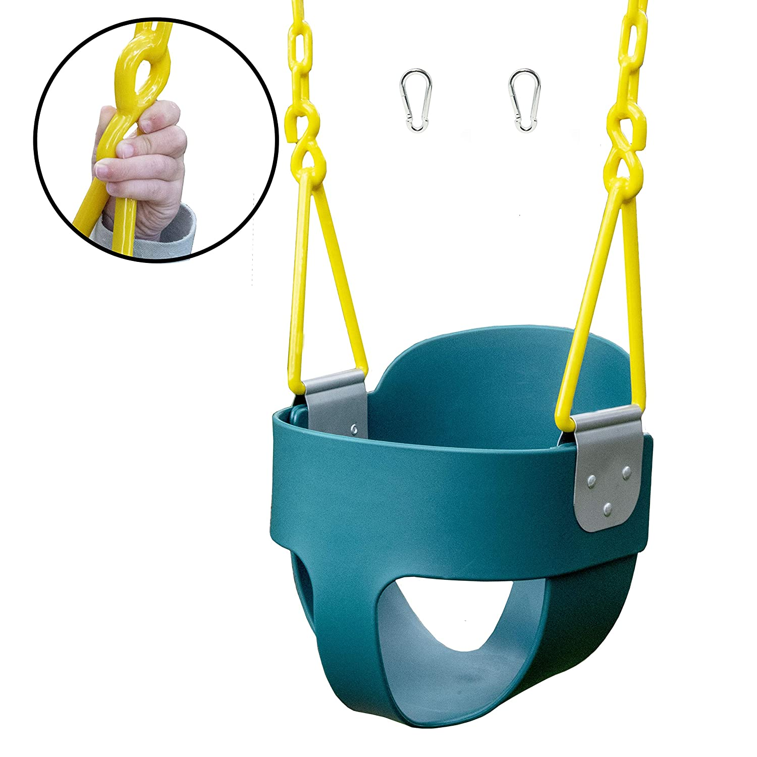 Squirrel Products High Back Full Bucket Toddler Swing with Exclusive Chain & Triangle Dip Pinch Protection Technology - Green