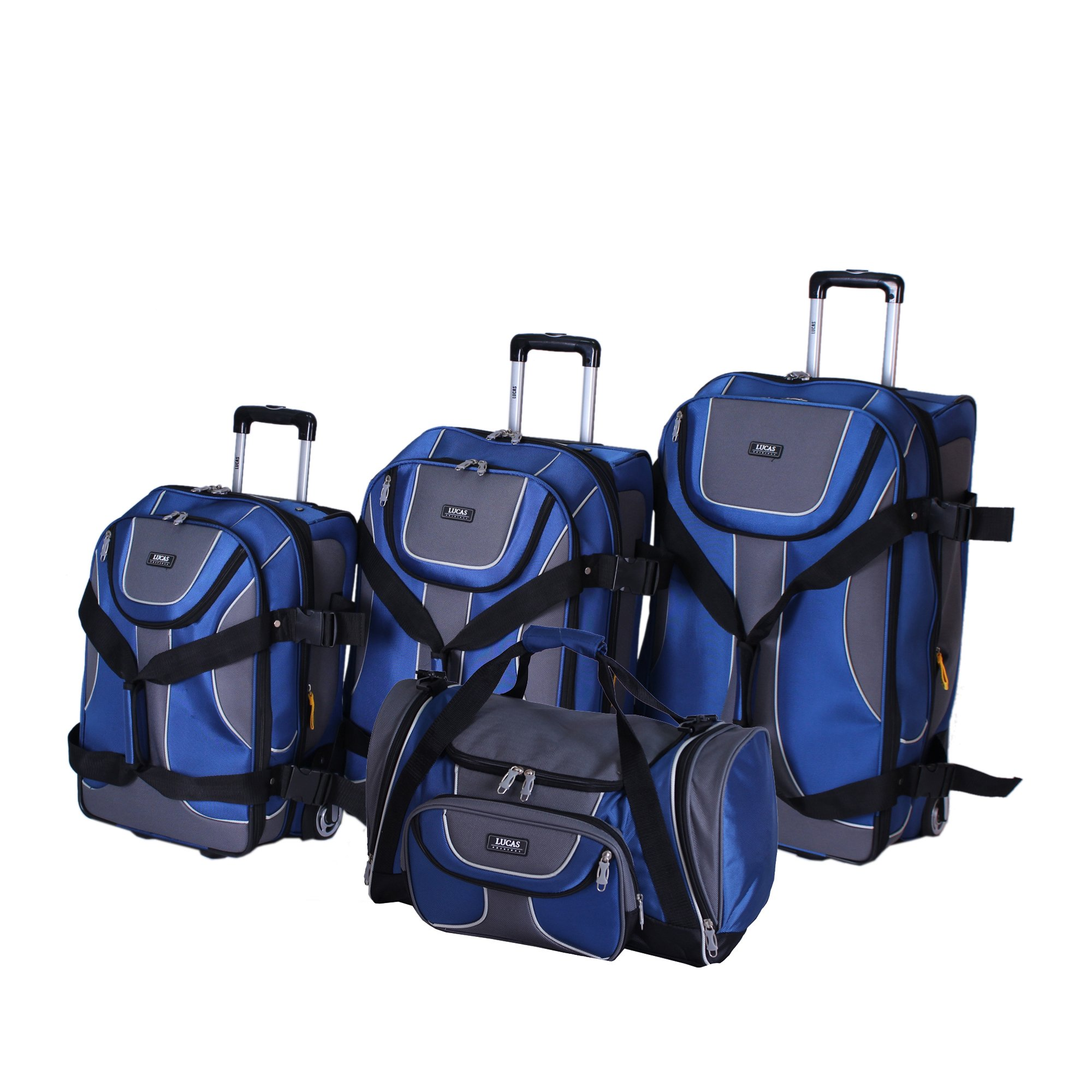 Lucas Luggage Sport 4-Piece Expandable Wheeled Upright Luggage Set (Blue)
