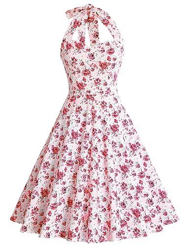 MUXXN Donna vintage Cinghia di spaghetti Gonna a Ruota con stampa floreale Casuale