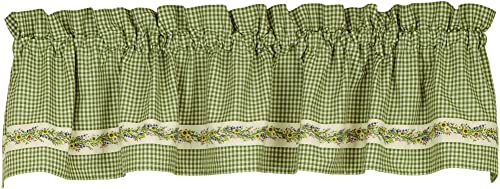 Wildflower Vine Sage Green Check 72 x 14 Fabric Window Treatment Valance