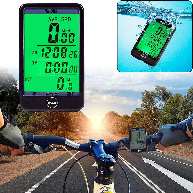 EEEKit Multi Función impermeable bicicleta ciclocomputador para deporte ciclo, bicicleta Velocímetro bicicleta odómetro Touch botón gran pantalla LCD con ...