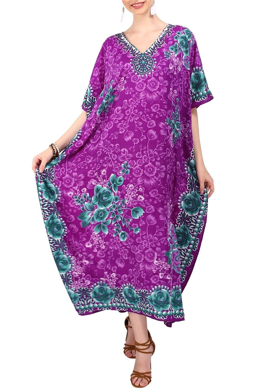 Miss Lavish London Donne Kaftan Tunica Kimono Libero Formato Lungo Maxi Partito Vestito per Loungewear Vacanze Pigiama Spiaggia di Tutti i Giorni Coprire i Vestiti Viola EU 38-44