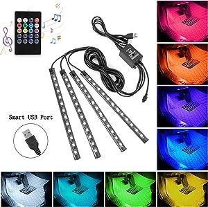 Car LED Strip Lights, 4pcs 48 USB LED Interior Lights, MultiColor Music Car Strip Light Under Dash Lighting Kit with Sound Active Function and Remote Controller, DC 5V