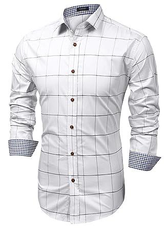 ec519478289 Coofandy Chemise Homme à Carreaux Manche Longue Coton Casual Col Italien  Blanc Taille S