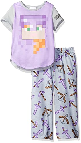 Minecraft Girls' Little Girls' Minecraft Short Sleeve Long Leg Pajama Set, Purple, 6