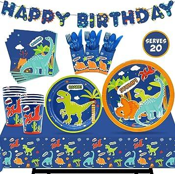 Amazon.com: Juego de vajilla de dinosaurio para fiestas ...