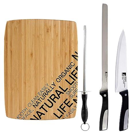 Bergner NATURAL Set de tabla de corte y juego de cuchillos Resa,