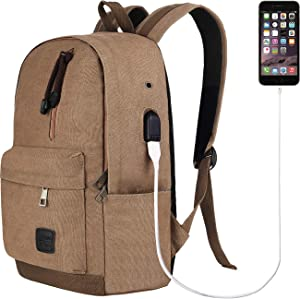 Laptop Backpack for Men Back Pack with USB Charging Port,Notebook Lightweight Travel Backpack (Coffee)
