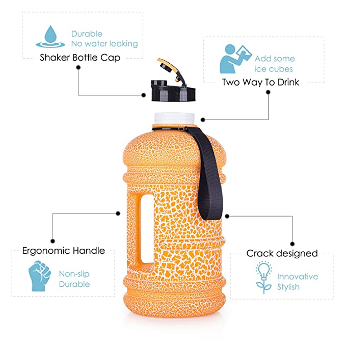 2018 New Design 2.2 Litre BPA Free Leakproof Plastic Sports Water Jug  Hydrate Drinking Bottle Tank Container with Measurements For Gym  Bodybuilding Weight ... a2e5eac1a8af4