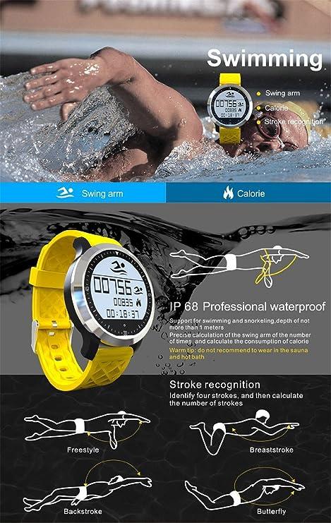 Smart Watch F69 Waterproof IP68 Smartwatch Swim Running Heart Rate Sleep Monitor for IOS Iphone Samsung HTC Android (Black)