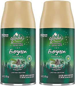 Glade Automatic Spray Refill - Limited Edition Holiday Collection - ICY Evergreen Forest - Net Wt. 6.2 OZ (175 g) Per Refill Can - Pack of 2 Refill Cans