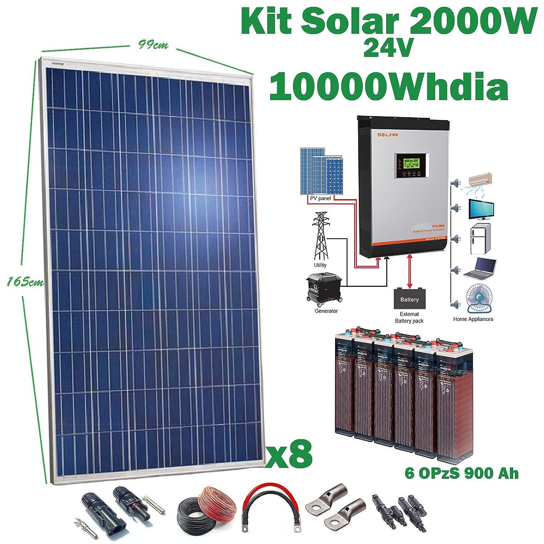 Kit Solare 24v 2000w 10000w giorno Inverdeitore Multifunzione 5kva Regolatore MPPT 80A Batteria 6OPzS 900Ah