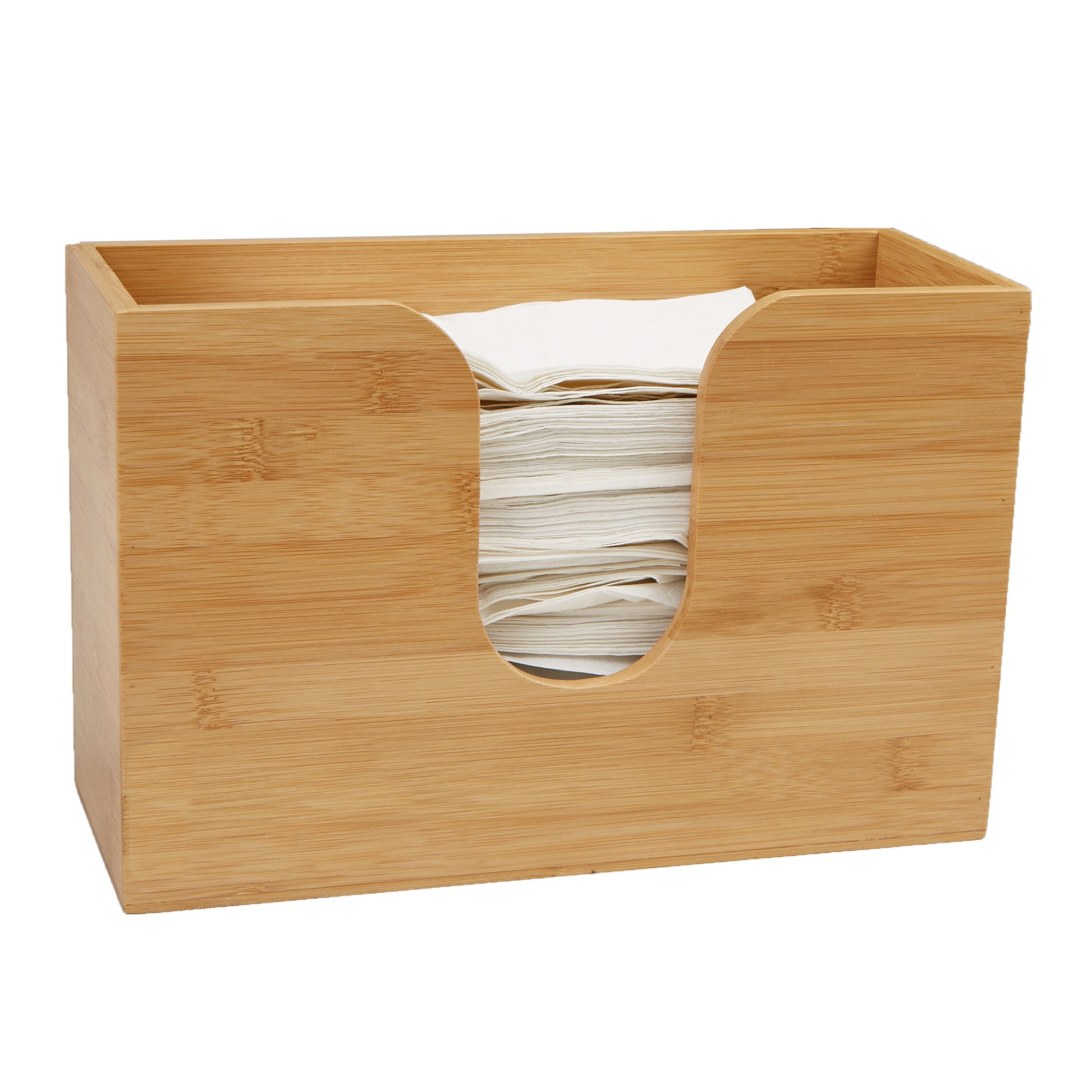 Mind Reader Bamboo Wall Mount Interfold Napkin Dispenser Organizer, Brown by Mind Reader (Image #3)