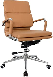 eames reproduction office chair. Classic Replica Medium Back Office Chair - CAMEL Vegan Leather, Thick High Density Foam, Eames Reproduction