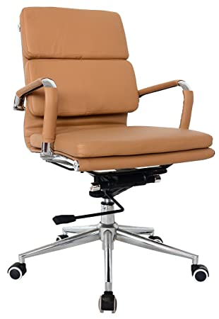 Classic Replica Medium Back Office Chair – Vegan Leather, Thick high Density Foam, stabilizing bar Swivel Deluxe Tilting Mechanism Camel, Pack of 1