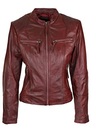 06b34bbc9c Infinity Blouson femme veste cuir véritable bordeaux rouge coupe cintrée  courte rétro col Mao: Amazon.fr: Vêtements et accessoires