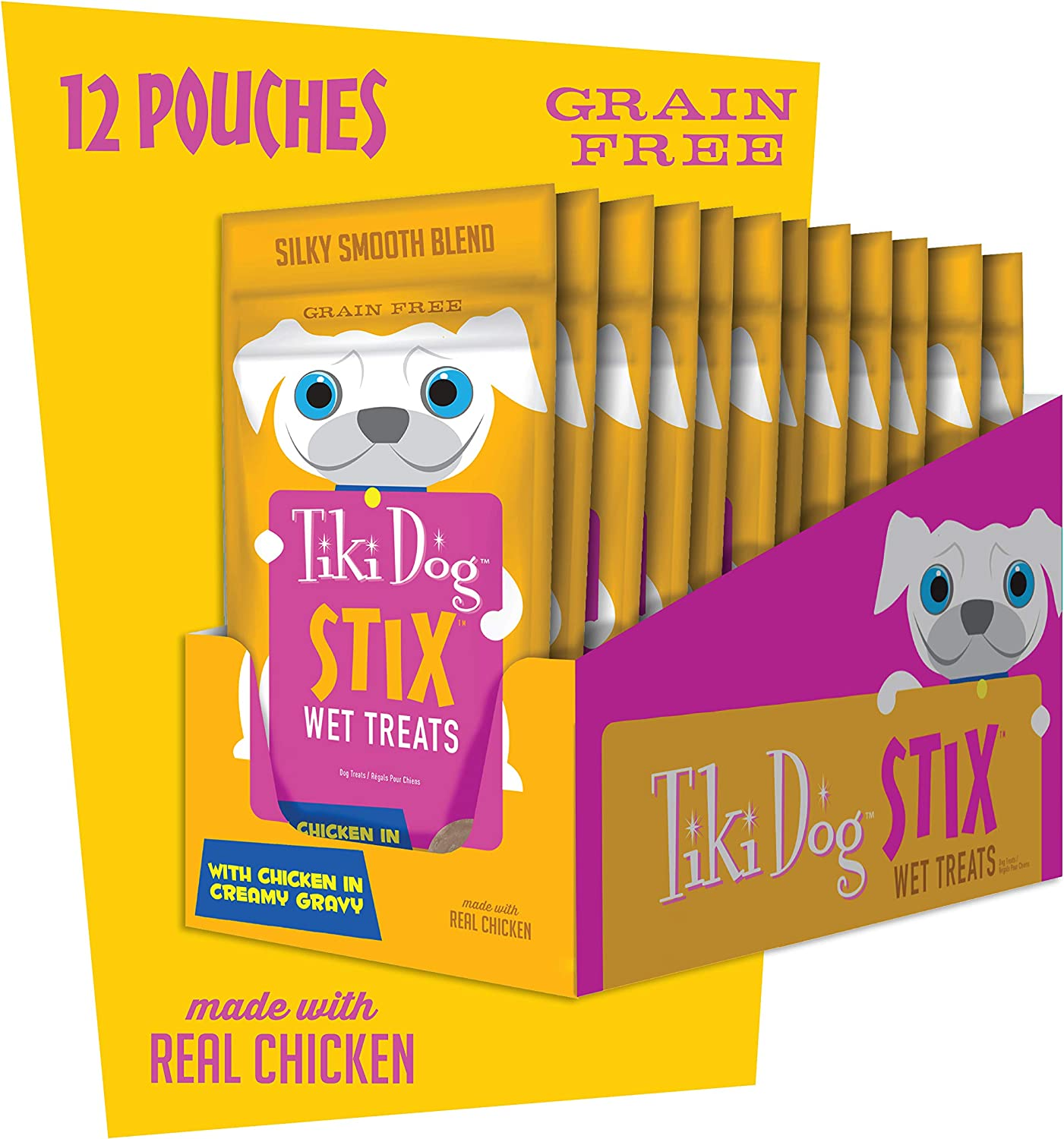 Tiki Dog Stix, Grain Free Wet Treats Lickable Gravy, Smooth Blend Food Topper or Hand Fed Snack