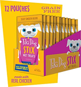 Tiki Dog Stix, Grain Free Wet Treats & Lickable Gravy, Smooth Blend Food Topper or Hand Fed Snack