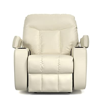 Great ProLounger Wall Hugger Storage Recliner Leather Power Chair, Cream