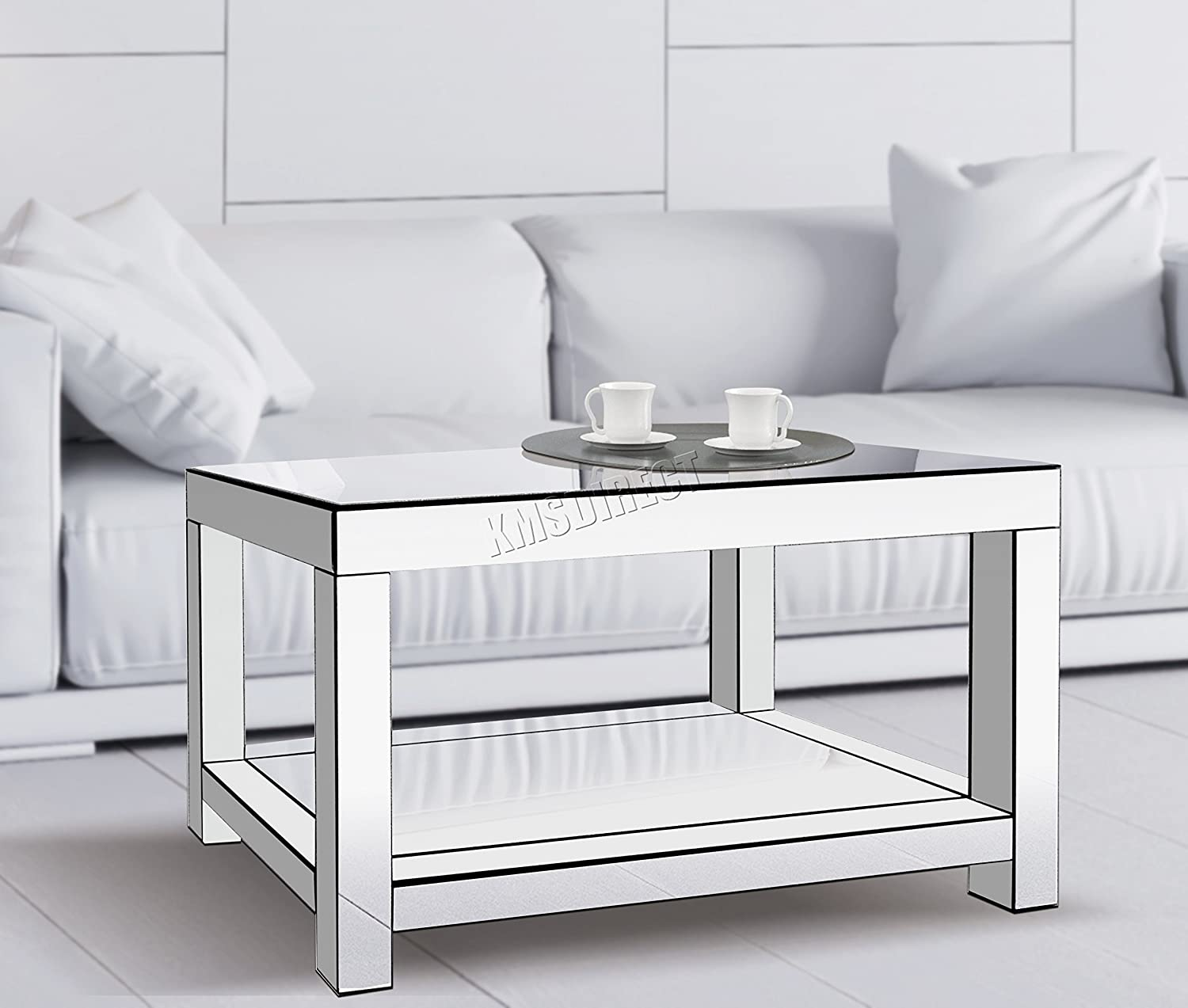 Foxhunter modern mirrored furniture glass coffee table 2 tier desk living room home mt07 silver new amazon co uk kitchen home