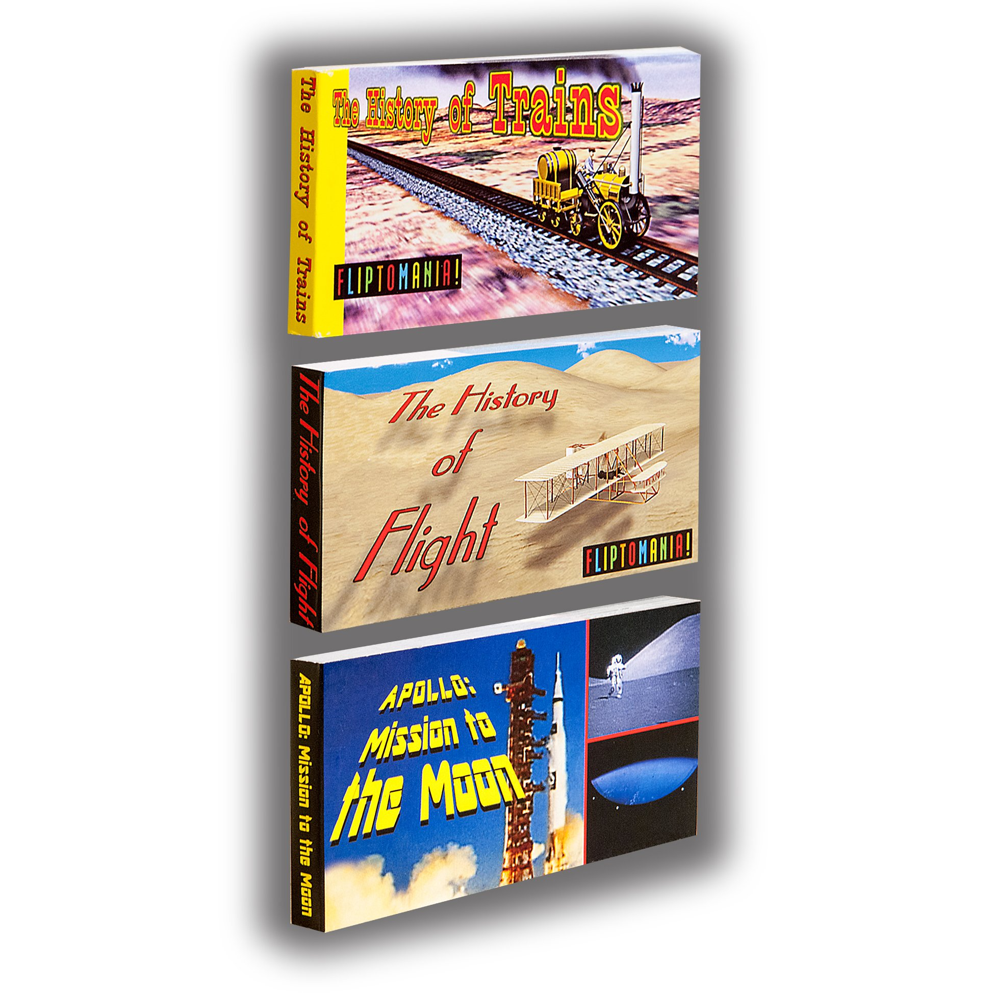 Fliptomania Planes, Trains, and Rockets Flipbook (3 Pack)
