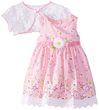 Amazon Com Youngland Baby Girls Floral Print Dress With Lace Shrug