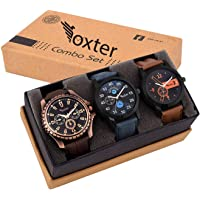 Foxter Pack of 3 Multicolour Analog Qurtz Watch for Men and Boys