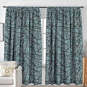 "NUOMANAN Curtain Panels,Set of 2 Leaves,Hand Drawn Style Striped Leaf Figures Foliage Autumn Fall Season Inspired,Pale Blue Black Grey,Modern Farmhouse Country Curtains 84""x100"""