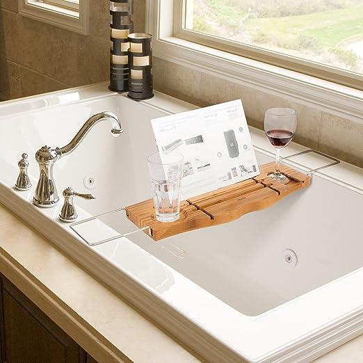 HOMFA Bandeja para Bañera Bandeja de bambú para bañera Estante extensible  de baño con soporte  Amazon.es  Hogar 3e0d24bb904a